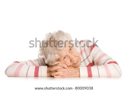 Portrait of old woman isolated on white - stock photo