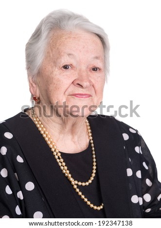 Portrait of old woman on a white background - stock photo