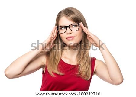 Portrait of optician woman wearing stylish eyeglasses, isolated on white background.  - stock photo