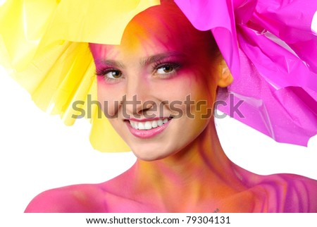 portrait of painted woman - stock photo