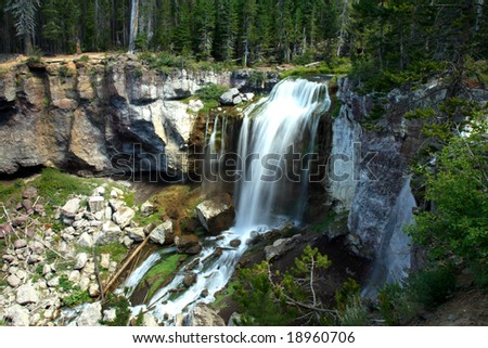 Portrait of Paulina falls in the Newberry National Volcanic Monument. - stock photo