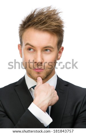 Portrait of pensive businessman touching face, isolated on white. Concept of leadership and success