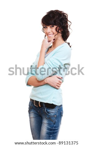 portrait of pensive smiley woman over white background