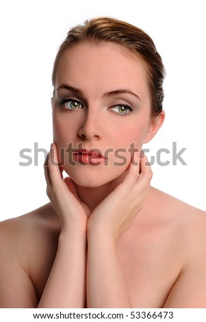 Portrait of pensive young woman isolated over white background