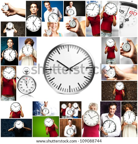 Portrait Of People Holding a Clock On Various Background - stock photo