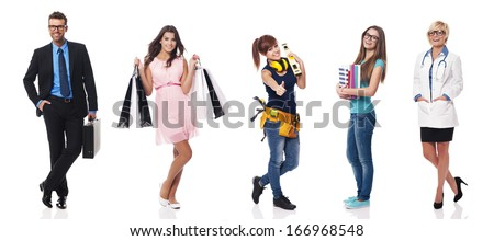 Portrait of people with different profession - stock photo