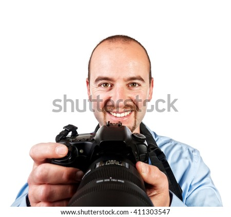 portrait of photographer isolated on white background