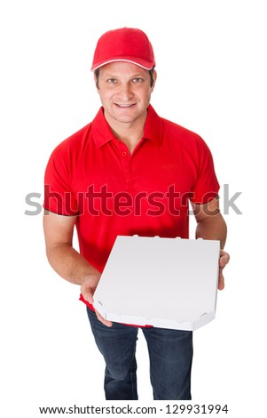 Portrait of pizza delivery guy. Isolated on white background
