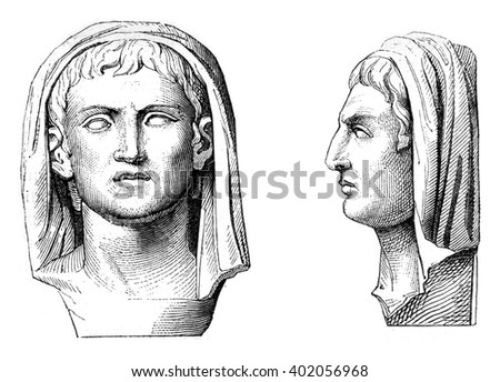 Portrait of Pliny the Younger, On the marble retained after the Giovio palace in the city of Como, vintage engraved illustration. Magasin Pittoresque 1847.