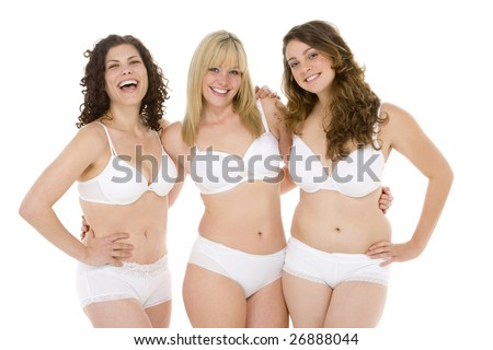 Portrait Of Plus Size Women In Their Underwear - stock photo