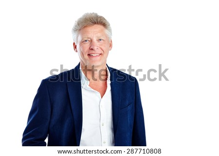 Portrait of positive mature man standing on white background smiling with copyspace - stock photo