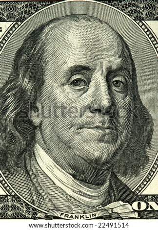 portrait of president Franklin on the  banknote