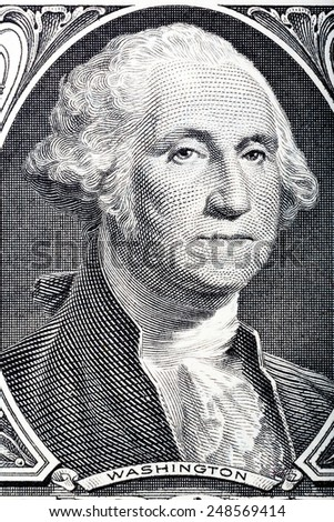 Portrait of president George Washington on one dollar one dollar banknote