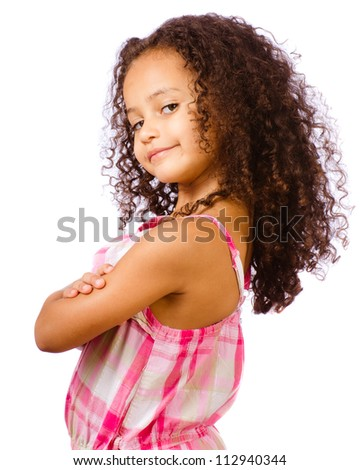 Portrait of pretty African-American mixed race child against white background - stock photo