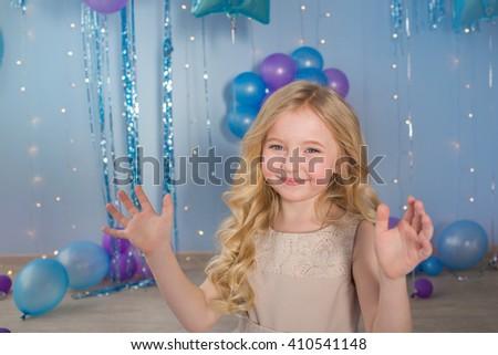 Portrait of Pretty blonde little girl - stock photo