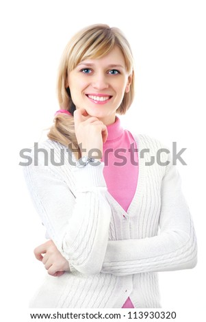 Portrait of pretty blonde woman  on the white background - stock photo