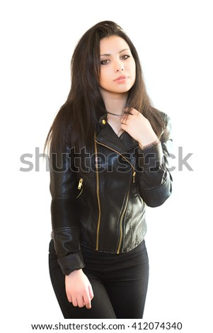 Portrait of pretty brunette in black jacket. Isolated on white - stock photo