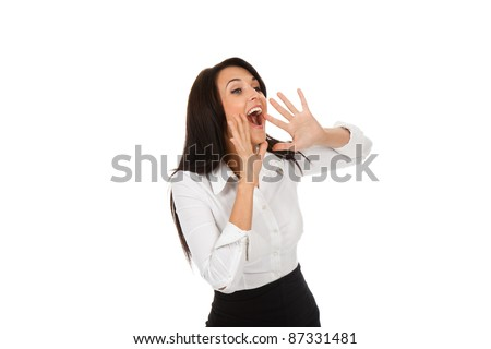 portrait of pretty businesswoman loud screaming or calling out to someone, isolated over white background