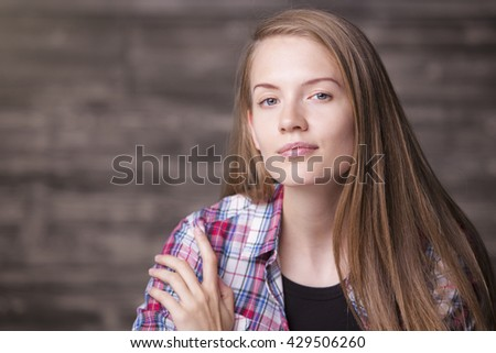 Portrait of pretty european girl - stock photo