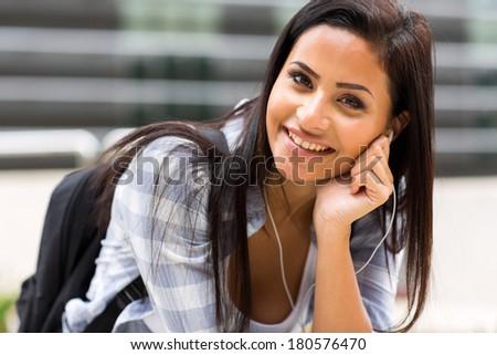 portrait of pretty female college student  - stock photo