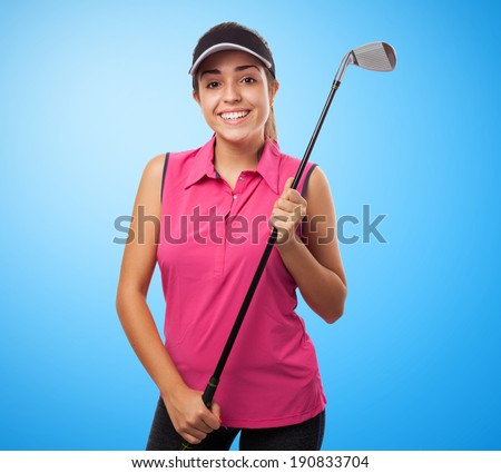 portrait of pretty girl holding a golf stick