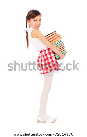 portrait of pretty girl holding books. isolated on white background - stock photo