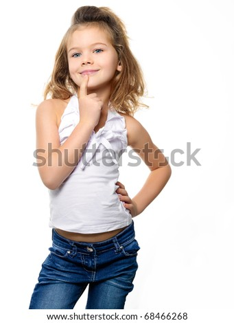 portrait of  pretty girl on white background - stock photo