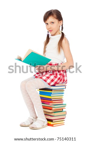 portrait of pretty girl with books. isolated on white background - stock photo