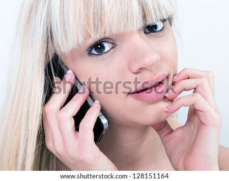 Portrait of pretty girl with phone - stock photo
