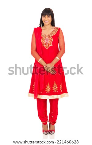 portrait of pretty indian woman in traditional clothing - stock photo