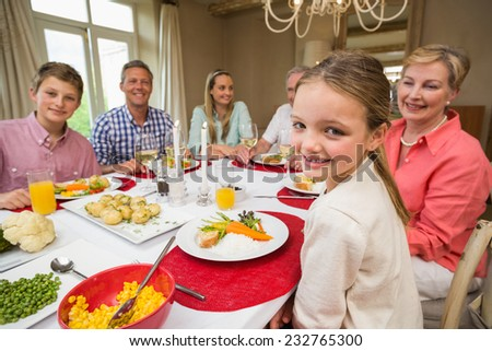 Portrait of pretty little girl during christmas dinner at home in the living room - stock photo