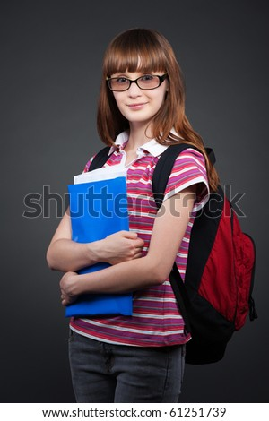 portrait of pretty student with folder