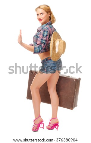 Portrait of pretty woman isolated - stock photo