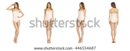 Portrait of pretty woman on white background wearing bodysuit