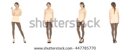 Portrait of pretty woman on white background wearing leggings