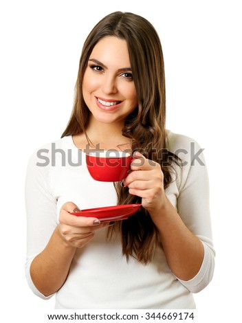 Portrait of pretty woman with cup of coffee isolated on white background - stock photo