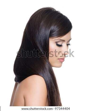 Portrait of pretty woman with long straight brown hair - on white background