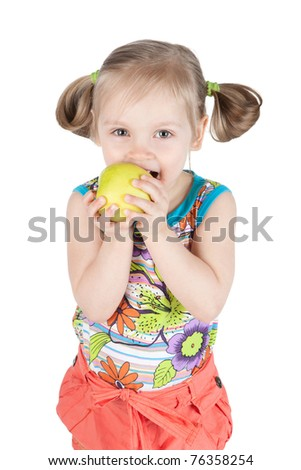 Portrait of pretty young girl with green apple over white - stock photo