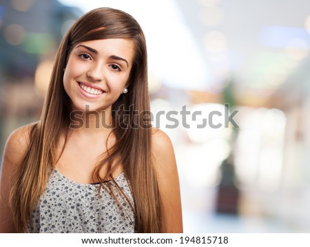 portrait of pretty young woman smiling closeup