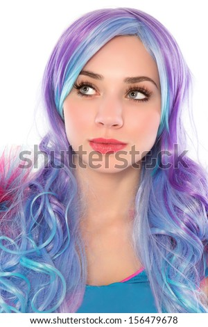 Portrait of pretty young woman with blue and hair. Isolated on white  - stock photo