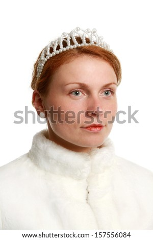Portrait of Princess with pearl crown on white background - stock photo