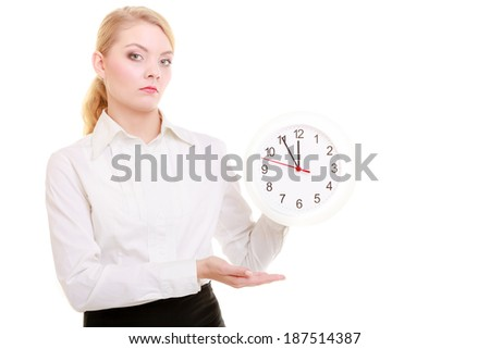 Portrait of professional businesswoman showing clock. Elegant blond girl isolated on white. Time for woman in business. Studio shot.