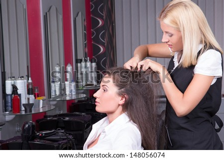portrait of professional female hairdresser working in beauty salon - stock photo