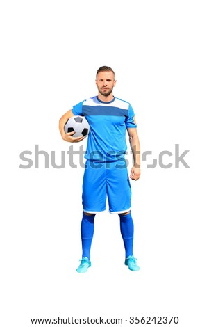 Portrait of professional soccer player Isolated on white - stock photo