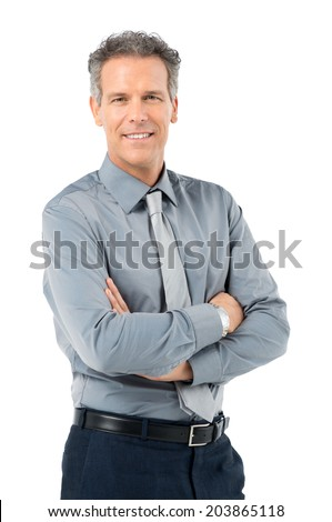 Portrait Of Proud Mature Businessman Looking At Camera Isolated On White Background - stock photo