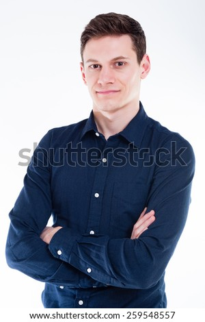 Portrait Of Proud Young Businessman Looking At Camera Isolated On White Background