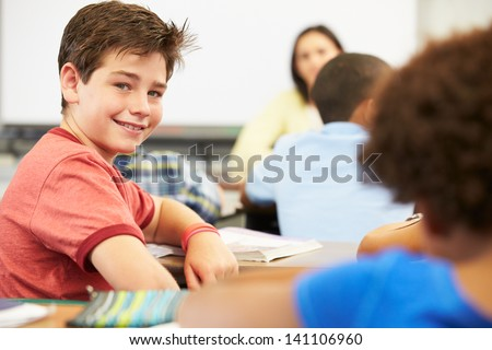 Portrait Of Pupil In Class - stock photo