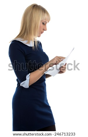 Portrait of reading woman on white background