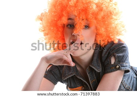portrait of red-head girl is a white background