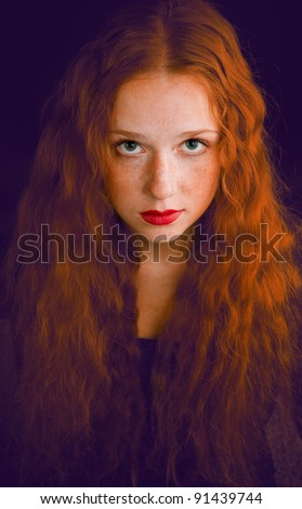 portrait of redheaded beautiful girl on white - stock photo